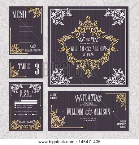 Set of wedding cards. Wedding invitation Save the date card Table card RSVP card and Menu.