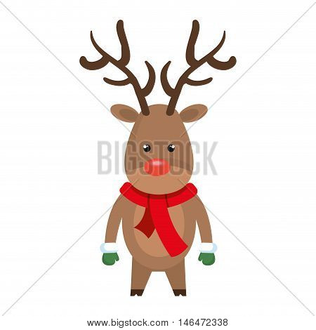 christmas deer cartoon with red nose. rudolph character. vector illustration