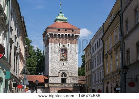 Medieval tower of the Florian Gate in Krakow, Poland.