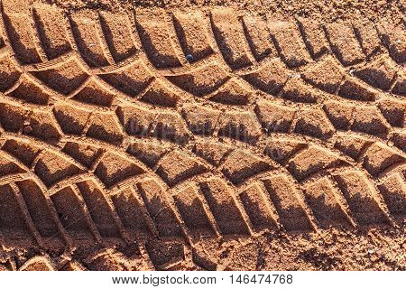 The Tire tracks on a sandy dirt road muddy.