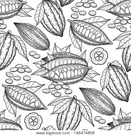 Graphic cocoa fruits. Exotic cacao plants. Vector seamless pattern. Coloring book page design for adults and kids
