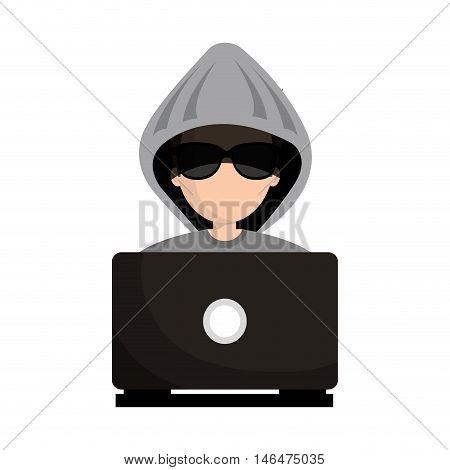 avatar man cartoon hacker digital criminal wearing gray hoodie and black glasses using a laptop computer.  vector illustration
