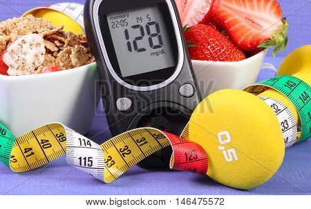 Glucometer With Sugar Level, Healthy Food, Dumbbells And Centimeter, Diabetes, Healthy And Sporty Li