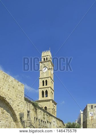 Old Clock Tower In Harbor City Of Akko