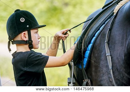 the boy saddling a horse and tighten the girth. The foreground.