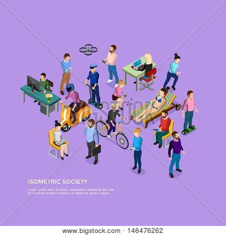 Isometric people society with group of male and female using different kinds of transport and electronic devices vector illustration