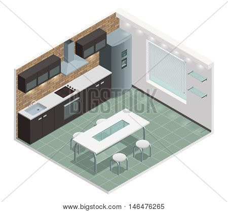 Modern family kitchen isometric view with counter built in oven and european style cabinets vector illustration