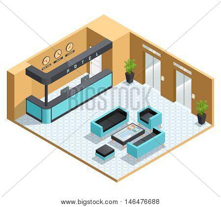 Color isometric illustration depicting hall interior vector illustration