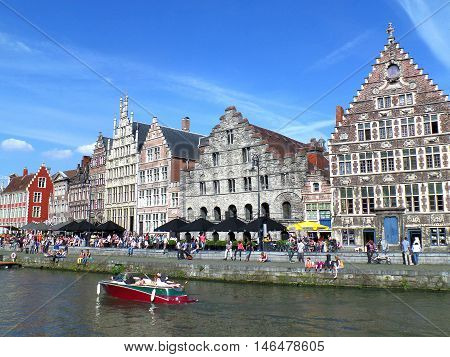 Graslei District of Gent on Sunny Day, Belgium