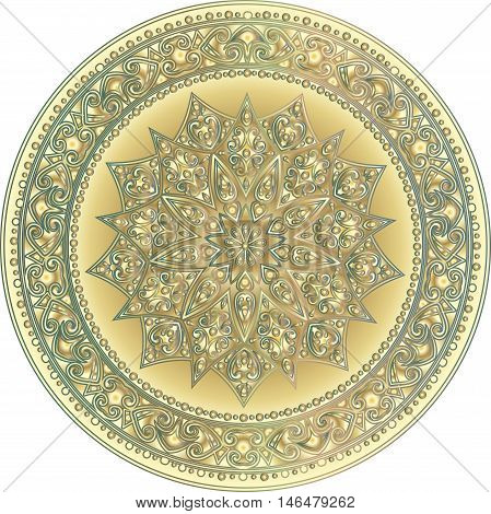 Drawing of a floral mandala with  gradient in gold and silver colors on a white background. Hand drawn tribal  vector stock illustration