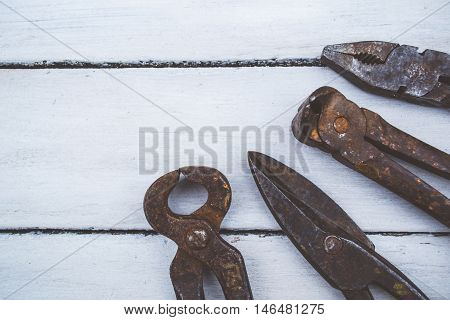 Set o rusty tools for the carpenter