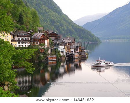 Lake Village of Hallstatt Town in Austria