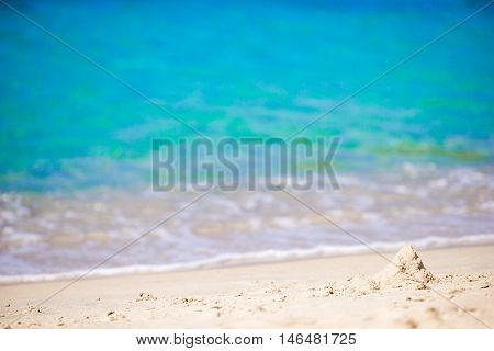 Turquiose water and white sand on one of the european beach