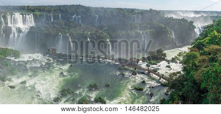 The Cataratas Of Iguacu (iguazu) Falls Located In Brazil