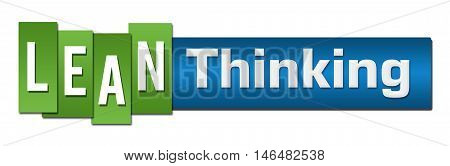 Lean thinking text alphabets written over green blue background.