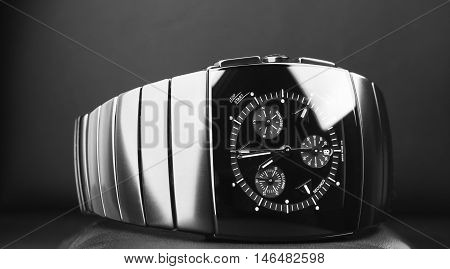 Black Luxury Mens Chronograph Watch