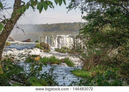 The Iguazu Falls With Clouds And Blue Sky