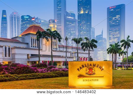 SINGAPORE - SEPTEMBER 9, 2015: Parliament of the Republic of Singapore building. The building dates from 1999.