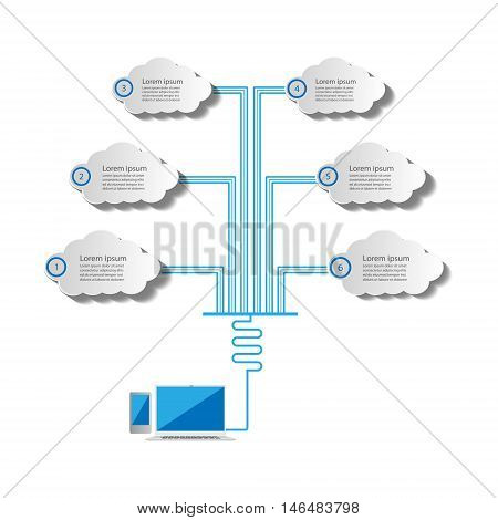Vector Illustration Of Cloud Computing And Infographics