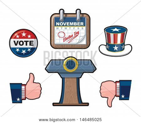 Six Highly Detailed American Elections Vector icon set. It includes the Uncle Sam's hat a calendar noting the Elections Day Like & Dislike symbols and the Presidential Podium.