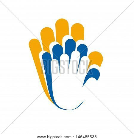 Vector sign solidarity, hands touching isolated illustration