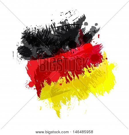 Colored splashes in abstract shape, German flag