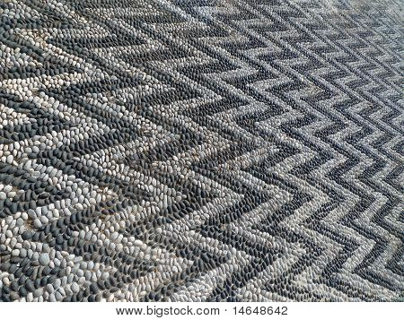 mosaic floor zig zag details black and white poster