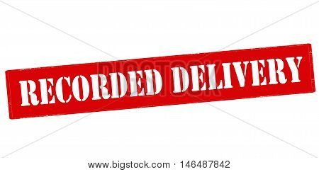 Rubber stamp with text recorded delivery inside vector illustration