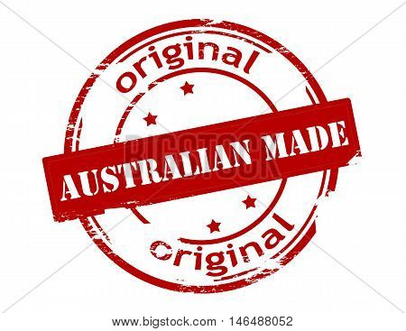 Rubber stamp with text Australian made inside vector illustration