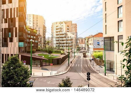 Milan, Italy - June 07, 2016: Modern residantial buildings in Porta Nuova business district in Milan. La Corte Verde complex was designed by italian architect Cino Zucchi
