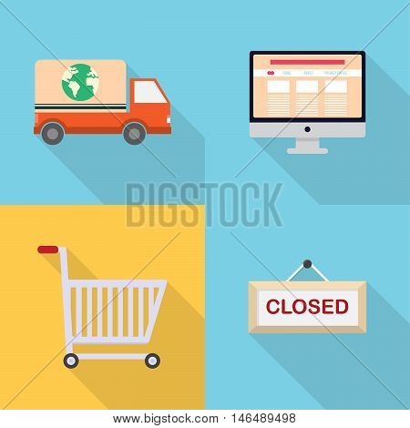 Set of great flat icons with style long shadow icon and use for shopping, marketing, store, online shop, business and much more.