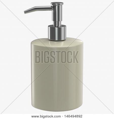 Ceramic soap dispenser isolated on white background 3D Illustration