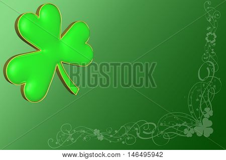 3d Ilustration. A clover on a green background with various decorations for St Patrick's day