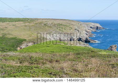 coastal scenery around Pointe du Raz a promontory in Brittany France