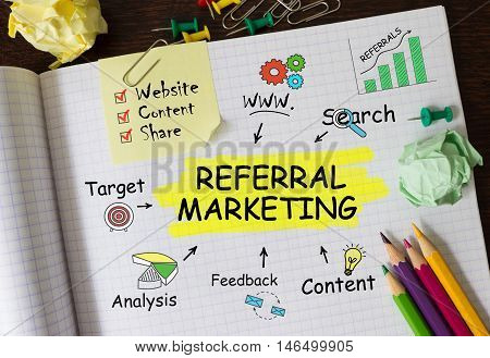 Notebook with Toolls and Notes about Referral Marketingconcept