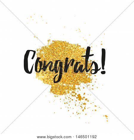 Template design greeting card Congratulations Card, banner greeting for the holiday. Decor spot grunge texture with gold and golden spray. Congratulations minimalist, trendy, modern style. Vector