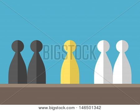Conflict between two different groups on blue background. Mediation diplomacy and opposition concept. Flat design. Vector illustration. EPS 8 no transparency