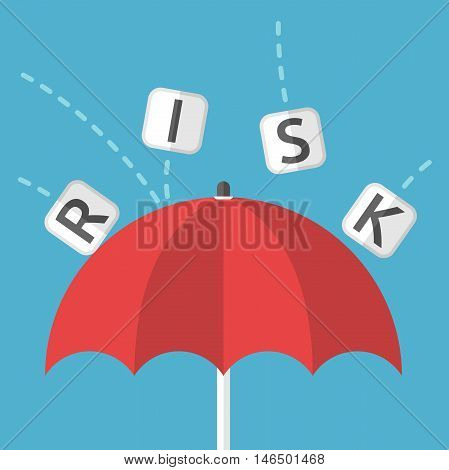 Red umbrella protects against risk on blue background. Protection safety and danger concept. Flat design. Vector illustration. EPS 8 no transparency
