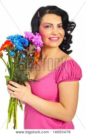 Beauty Woman Holding Flowers Bouquet