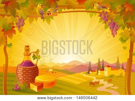 Vector illustration of beautiful autumn landscape on sunset background, modern elegant style with vineyard, elegant copy space. Countryside fall farm thanksgiving symbol, wine bottle, camembert cheese