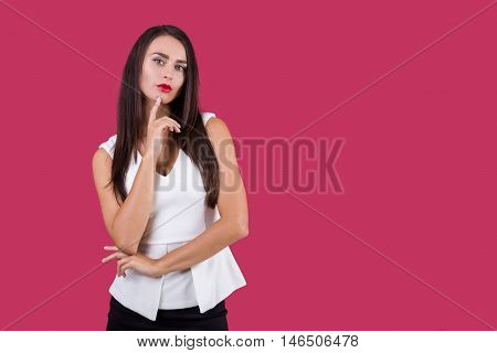 Business lady is thinking about her next move to take her boss's place in the firm. Concept of intrigues. Mock up