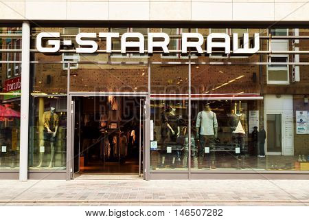 Rostock, Germany - August 12, 2016: G-Star RAW is a Dutch designer clothing company