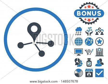 Geo Network icon with bonus. Vector illustration style is flat iconic bicolor symbols, smooth blue colors, white background.