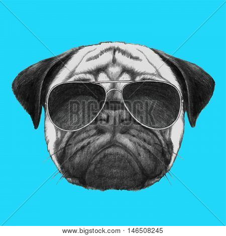 Hand drawn portrait of  Pug Dog with sunglasses.