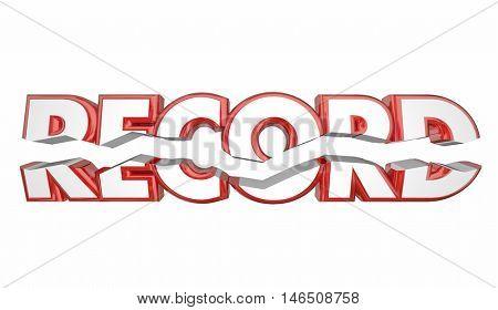 Record Breaker Top Score Best Result Word 3d Illustration