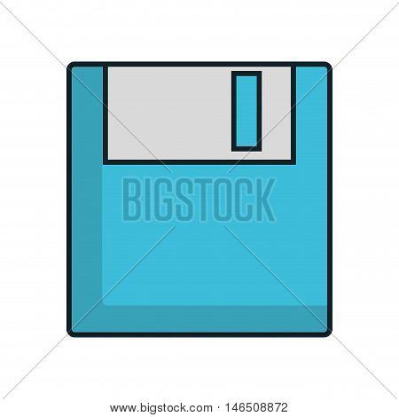 blue data diskette. retro  technology equipment. vector illustration