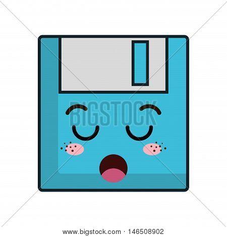 kawaii cartoon diskette with boring face. vector illustration