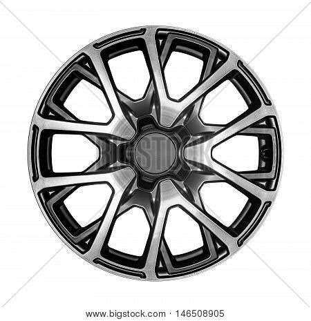 Car wheel. Alloy wheel for a car on a white background.