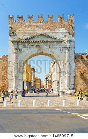 Rimini, Italy - August, 7, 2016: triumphal arch in a central part of Rimini, resort town in Italy