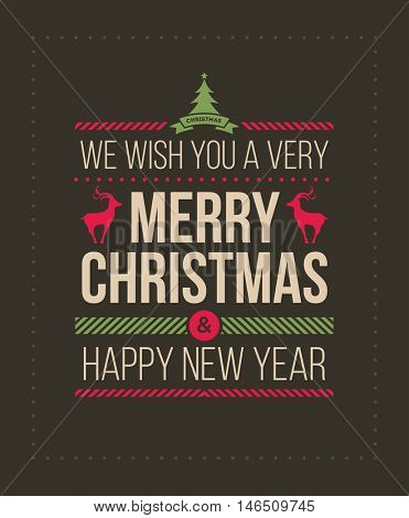 Christmas and new year greeting card design template. Vector illustration. Merry Christmas and happy new year message.